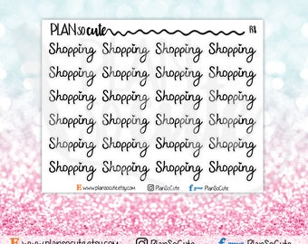 Shopping Script Word Planner Stickers, Functional planner stickers -138
