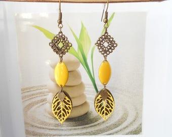 bronze sequin earrings yellow