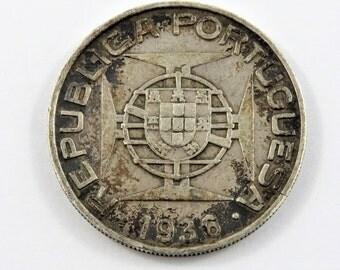 Mozambique 1936 Silver 10 Escudos Coin.