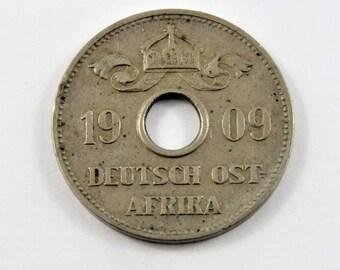German East Africa 1909 J Silver 10 Heller Coin.