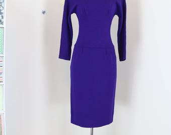 """1980s Dress - Body Con - Purple Knit - Dolman Long Sleeve - Chic Sexy Midi - Button Up Back Detail - Size Small 26"""" Waist"""