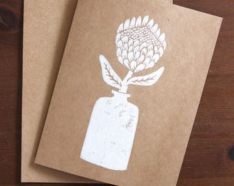Hand Stamped Block Print Card. Set of 6 Blank Greeting Cards with Envelopes. Botanical Card.