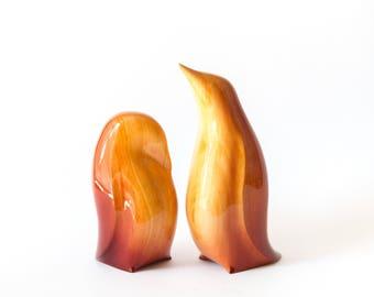 Wooden Penguins Statue, Wooden Penguins Figurine, Wood Carving, Hand Carved, Wooden Statue, Wooden Figurine
