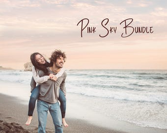 Pink Sky Bundle: Cloud Overlays, Actions, Sunlight Overlays, Color Overlays - Photo overlays, Digital sky, Wedding overlays, Pastel, Evening