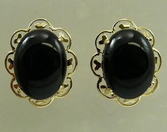 Black Onyx 12.1 x 16.1 mm Earring 14k Yellow Gold