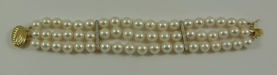 Freshwater Pearl Triple Strand Bracelet with14k Yellow Gold Clasp & Diamond Bars