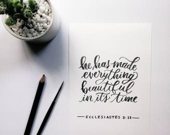 Ecclesiastes 3:11 | Watercolor Brush-Lettered Minimal Whimsical Encouraging Quote Scripture Bible Verse Art Piece