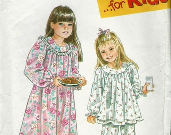 Simplicity 9296 Sizes 3 4 5 6 7 8 Childrens Nightgown And Pajamas