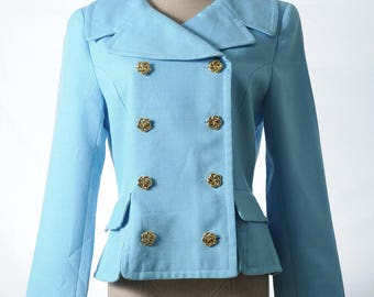 Vintage baby blue Kelly Jackie style gold tone buttons suit