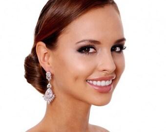 Wedding Jewelry Bridal Earrings Long Bridal earrings Crystal Bridal Earrings Wedding earrings  Chandelier Earrings  Cubic Zirconia earrings