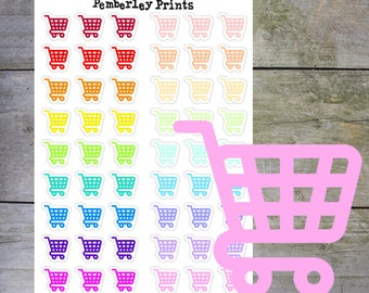 Shopping Stickers // Shopping Trolley/Cart Functional Rainbow Icon Planner Stickers // F3