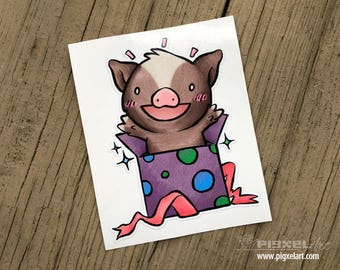 "Vinyl Decal Cute Little Pig ""Surprise!"" Piggy Die Cut Art Indoor/Outdoor Chotto Sukoshi Buta Mini Pig Pigxel Art"