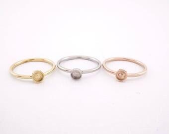 Stainless Steel Bezel Cup Ring 4.2mm -- Bezel Ring - Bezel Ring Setting - Stainless Steel Ring Blank - cabochon ring