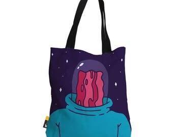 "Artist Designed Tote Bag - 18"" Inch Purple Beach Bag   Professor Bacon by Bigshot Robot    UBU Republic"