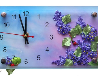 Modern clock - Lilac dreams, picture, embroidery with silk ribbon, flowers with ribbon, lilac flowers, gifts for wife, embroidery т2-ч2