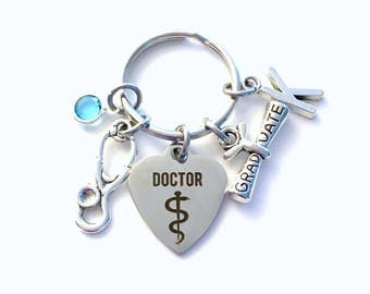 Graduation Gift for Doctor Keychain, Medical Dr Key Chain, Physician General Practitioner Grad Present Keyring Grad women Initial Birthstone