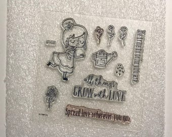 B1526 / Lovely Garden / Stamp Set / Close To My Heart / CTMH / Acrylic Stamp Set / Clear Stamp Set / Spread Love / Flowers / Grow with Love
