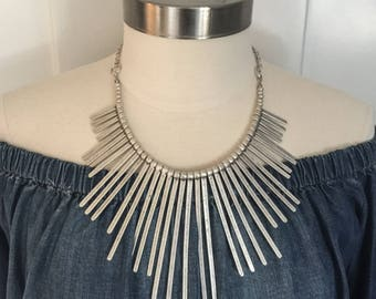 Chunky Turkish Silver Graduated Spike Necklace Boho Global Festival Brutalist