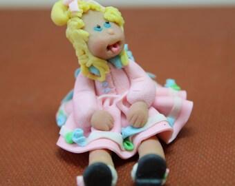 Dollhouse Miniature Handmade Clay Sassy Little Girl Doll or Figure (1/12 Scale)
