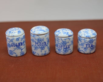Dollhouse Miniature Set of 4 Graduated Ceramic Kitchen Canisters in Blue & White Floral China Pattern (1/12 Scale)
