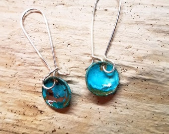 Copper Patina Dangle Drop Earrings with Handmade Sterling Silver Kidney Ear Wires / Verdigris Patina / Maine made jewelry/ Gift for her