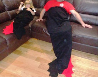Made To Order Large Dragon Tail Snuggle Blanket ~ Lapghan~ Lap Blanket~ Snuggle Sack ~ Sofa Blanket ~ Fleece ~ Unisex Adult