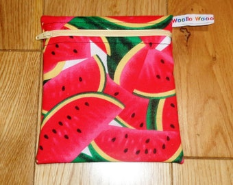 Snack Bag - Bikini Bag - Lunch Bag - Make Up Bag Small Poppins Waterproof Lined Zip Pouch - Sandwich bag  Eco - Water Melon Fabric