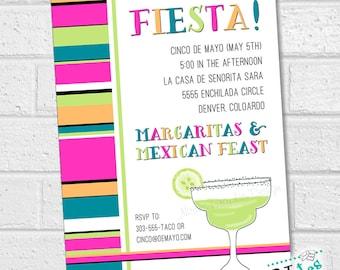 Cinco de Mayo Invitation, Cinco de Mayo Party, Cinco de Mayo Celebration, Fiesta Invitation, Mexican Fiesta, Margarita Glass | PRINTABLE
