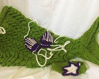 Crochet Mermaid Tail with Shell Bikini Top and Starfish Headband