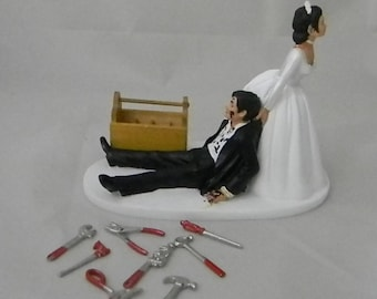 wedding cake topper with truck mechanic cake topper etsy 26664
