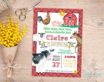 Farm Invitation, Farm Birthday, Barnyard Invitation, Oink Moo, Farm Party, Cow, Pig, Barnyard Animals, Second 2nd, Printable, Chicken