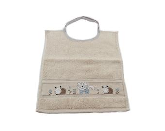 Baby bib / embroidery cross stitch / Embroidery cat