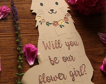Flower Girl Puzzle, Cat Puzzle, Will you be our Flower Girl, Flower Girl Proposal, Ask Flower Girl