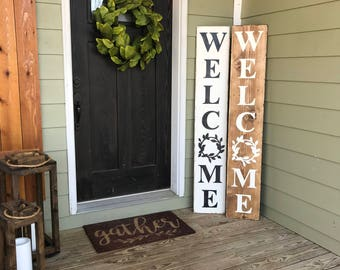 Welcome, Welcome Board, Welcome Sign, Farmhouse Style, Laurel, Rustic, Wooden, Front Porch Welcome Sign, Farmhouse Style, Entryway