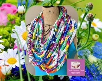 Summer Scarf, Infinity Scarf, Crochet Scarf, Knit Scarf, Handmade Scarf, Boho Infinity Scarf, Freeform Crochet, Bohemian Scarf, Boho Scarf