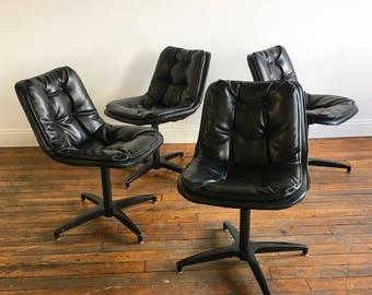 Mid Century Modern Padded Vinyl Swivel Chairs