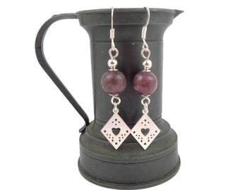 Silver earrings Sterling purple pink Lepidolite, graphic charms diamonds
