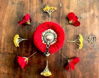 Handmade Brooch - Kuchi Button Red Afghani ethnic bohemian