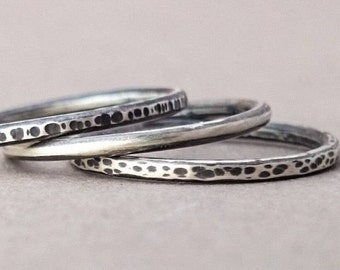 Stackable Ring Set of 3. Stacking Rings. Thumb Ring. Eco Friendly Sterling Silver. Textured Ring. Hammered Rings. Recycled Silver.