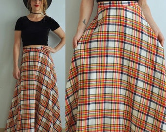 Vintage 60s Plaid A Line Circle Skirt // Maxi Full Length // XS Small 50s