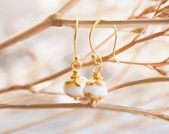 White Drop Earrings, White and Gold Earrings, Tiny Drops for Girls, Earrings for Her, Gold and White Earrings, Gift for Her, White Earrings