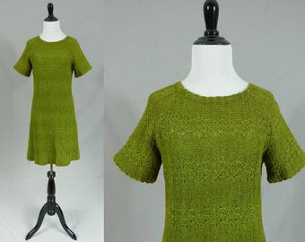 60s Knit Dress - Green - Openwork - Short Sleeves - Dalton - Vintage 1960s - S M