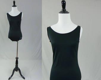 70s Dolfin Swimsuit - Black Nylon - Swim Suit - Bathing Suit - Simple Classic - Vintage 1970s - M