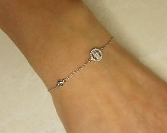 Cute hamsa hand sterling silver bracelet