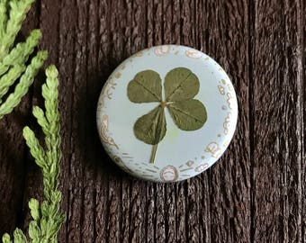 Pinback Button  Real Four Leaf Clover