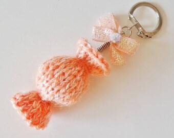 Keychain / bag orange candy charm