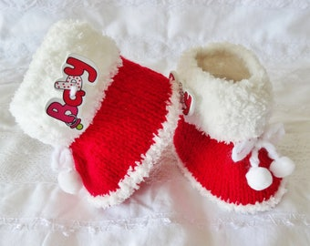 Red and white stuffed baby 0/3 months - Santa boots / Christmas - red slippers - fur - red boots