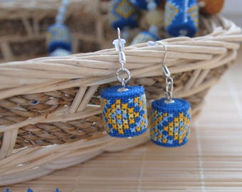 Blue earrings dangle earrings bright earrings Summer jewelry fabric earrings ethnic jewelry Embroidered jewelry gift for her Gifts for girl