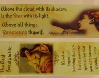 """Trusting Souls """"Eyes Of God"""" Laminated Bookmark – Beauty & """"Devotion"""" Gold Plated Crown Charm with Cubic Zirconia Inset on Lobster Clasp"""