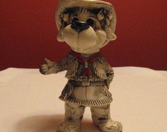 Vintage 1977 Western Cowgirl Dog Bank Creative INC made of a Type of Hard plastic Absolutely Adorable in Her Western Gear!